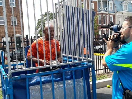Chief Carter in the dunk tank