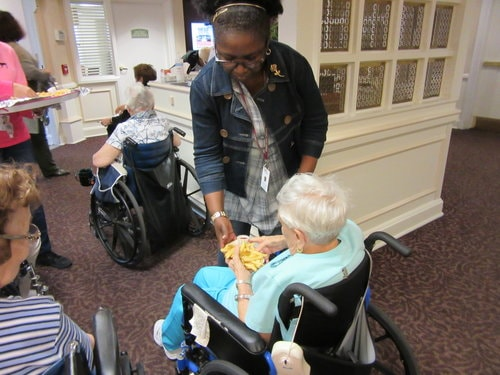 Residents enjoy fries at Homeland Center