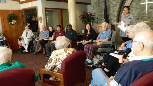 Central Penn students talk to residents about Pearl Harbor at Homeland Center