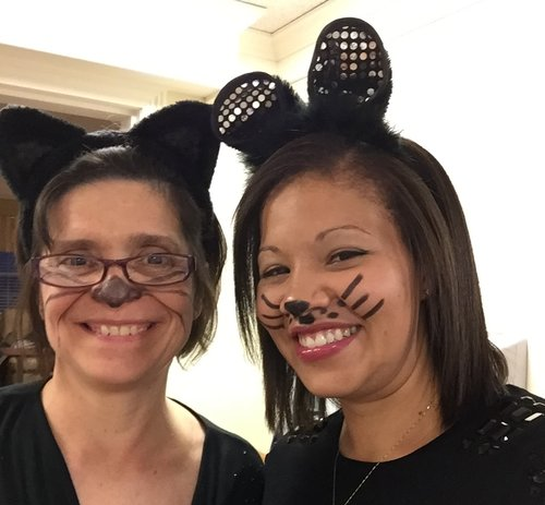 Ashley and Jeannie on Halloween at Homeland Center