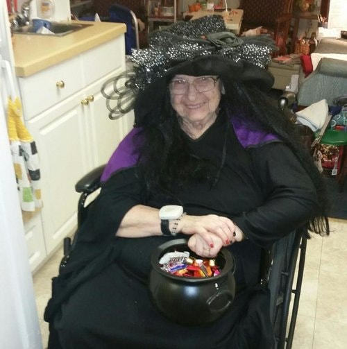 Jean Amsden on Halloween at Homeland Center