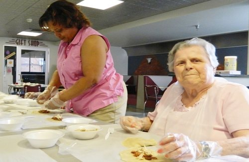 Activities coordinator Anita Payne and resident Naomi Packer